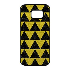 Triangle2 Black Marble & Yellow Leather Samsung Galaxy S7 Edge Black Seamless Case by trendistuff