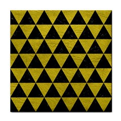 Triangle3 Black Marble & Yellow Leather Tile Coasters