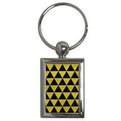 Triangle3 Black Marble & Yellow Leather Key Chains (rectangle)  by trendistuff