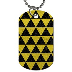 Triangle3 Black Marble & Yellow Leather Dog Tag (one Side) by trendistuff