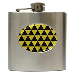 Triangle3 Black Marble & Yellow Leather Hip Flask (6 Oz) by trendistuff