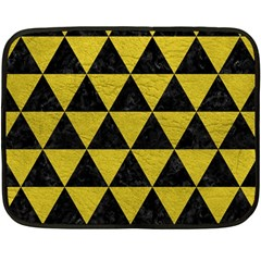 Triangle3 Black Marble & Yellow Leather Fleece Blanket (mini) by trendistuff