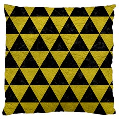 Triangle3 Black Marble & Yellow Leather Large Cushion Case (two Sides) by trendistuff