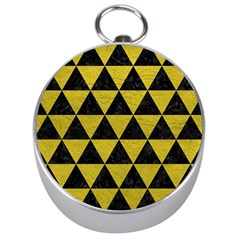 Triangle3 Black Marble & Yellow Leather Silver Compasses by trendistuff
