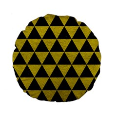 Triangle3 Black Marble & Yellow Leather Standard 15  Premium Flano Round Cushions by trendistuff