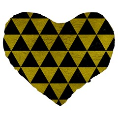 Triangle3 Black Marble & Yellow Leather Large 19  Premium Flano Heart Shape Cushions by trendistuff