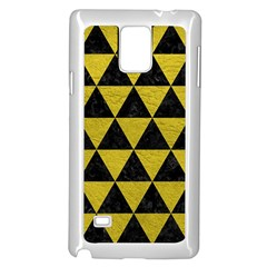 Triangle3 Black Marble & Yellow Leather Samsung Galaxy Note 4 Case (white) by trendistuff