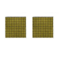 Woven1 Black Marble & Yellow Leather Cufflinks (square) by trendistuff