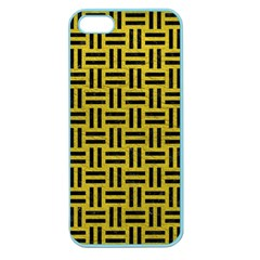 Woven1 Black Marble & Yellow Leather Apple Seamless Iphone 5 Case (color)