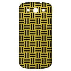 Woven1 Black Marble & Yellow Leather Samsung Galaxy S3 S Iii Classic Hardshell Back Case by trendistuff