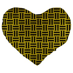 Woven1 Black Marble & Yellow Leather Large 19  Premium Flano Heart Shape Cushions