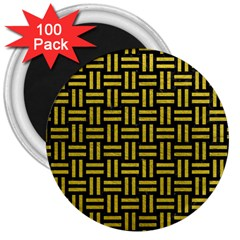 Woven1 Black Marble & Yellow Leather (r) 3  Magnets (100 Pack) by trendistuff