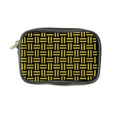 Woven1 Black Marble & Yellow Leather (r) Coin Purse