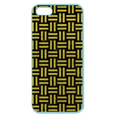Woven1 Black Marble & Yellow Leather (r) Apple Seamless Iphone 5 Case (color)