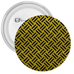 Woven2 Black Marble & Yellow Leather 3  Buttons by trendistuff