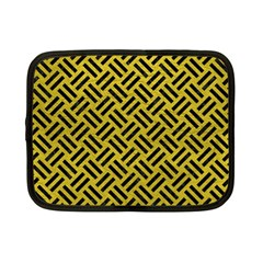 Woven2 Black Marble & Yellow Leather Netbook Case (small)  by trendistuff
