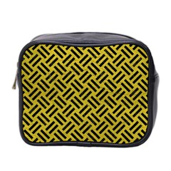 Woven2 Black Marble & Yellow Leather Mini Toiletries Bag 2 Side by trendistuff