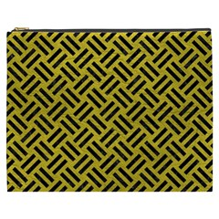 Woven2 Black Marble & Yellow Leather Cosmetic Bag (xxxl)  by trendistuff