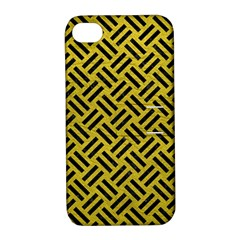 Woven2 Black Marble & Yellow Leather Apple Iphone 4/4s Hardshell Case With Stand by trendistuff
