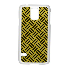 Woven2 Black Marble & Yellow Leather Samsung Galaxy S5 Case (white)