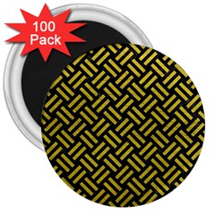 Woven2 Black Marble & Yellow Leather (r) 3  Magnets (100 Pack) by trendistuff