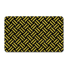 Woven2 Black Marble & Yellow Leather (r) Magnet (rectangular) by trendistuff