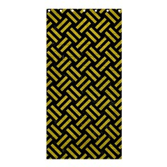 Woven2 Black Marble & Yellow Leather (r) Shower Curtain 36  X 72  (stall)  by trendistuff