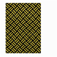 Woven2 Black Marble & Yellow Leather (r) Large Garden Flag (two Sides) by trendistuff