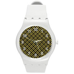 Woven2 Black Marble & Yellow Leather (r) Round Plastic Sport Watch (m) by trendistuff