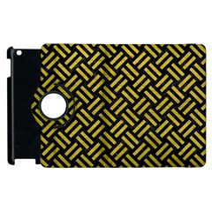 Woven2 Black Marble & Yellow Leather (r) Apple Ipad 3/4 Flip 360 Case by trendistuff