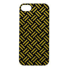 Woven2 Black Marble & Yellow Leather (r) Apple Iphone 5s/ Se Hardshell Case