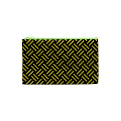 Woven2 Black Marble & Yellow Leather (r) Cosmetic Bag (xs) by trendistuff