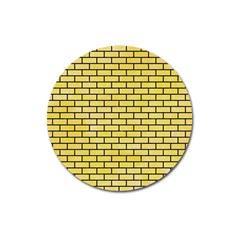 Brick1 Black Marble & Yellow Watercolor Magnet 3  (round) by trendistuff