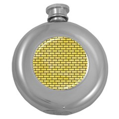 Brick1 Black Marble & Yellow Watercolor Round Hip Flask (5 Oz) by trendistuff