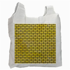 Brick1 Black Marble & Yellow Watercolor Recycle Bag (one Side) by trendistuff