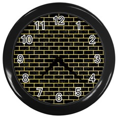 Brick1 Black Marble & Yellow Watercolor (r) Wall Clocks (black) by trendistuff