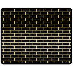 Brick1 Black Marble & Yellow Watercolor (r) Fleece Blanket (medium)