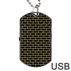 Brick1 Black Marble & Yellow Watercolor (r) Dog Tag Usb Flash (one Side) by trendistuff