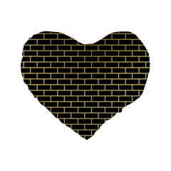 Brick1 Black Marble & Yellow Watercolor (r) Standard 16  Premium Heart Shape Cushions by trendistuff