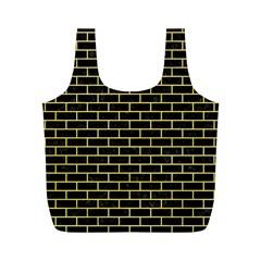 Brick1 Black Marble & Yellow Watercolor (r) Full Print Recycle Bags (m)  by trendistuff
