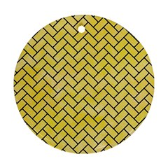 Brick2 Black Marble & Yellow Watercolor Ornament (round) by trendistuff