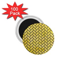 Brick2 Black Marble & Yellow Watercolor 1 75  Magnets (100 Pack)  by trendistuff