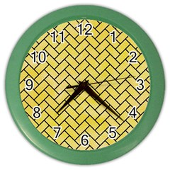 Brick2 Black Marble & Yellow Watercolor Color Wall Clocks by trendistuff
