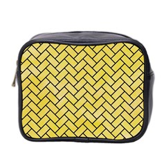 Brick2 Black Marble & Yellow Watercolor Mini Toiletries Bag 2 Side by trendistuff