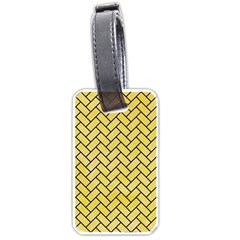 Brick2 Black Marble & Yellow Watercolor Luggage Tags (two Sides) by trendistuff