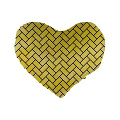 Brick2 Black Marble & Yellow Watercolor Standard 16  Premium Heart Shape Cushions by trendistuff