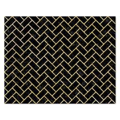 Brick2 Black Marble & Yellow Watercolor (r) Rectangular Jigsaw Puzzl by trendistuff