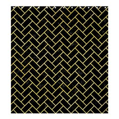 Brick2 Black Marble & Yellow Watercolor (r) Shower Curtain 66  X 72  (large)  by trendistuff