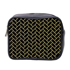 Brick2 Black Marble & Yellow Watercolor (r) Mini Toiletries Bag 2 Side by trendistuff