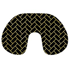 Brick2 Black Marble & Yellow Watercolor (r) Travel Neck Pillows by trendistuff